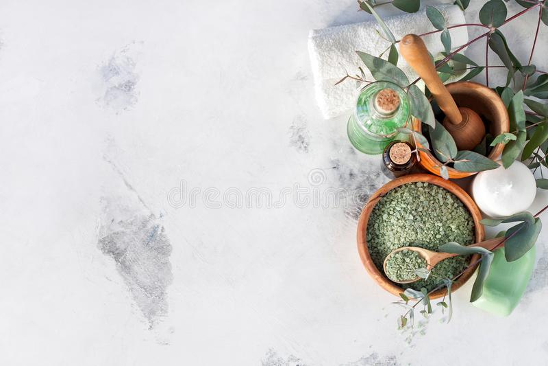 Massage- och Spa produkter med eukalyptuns royaltyfria bilder