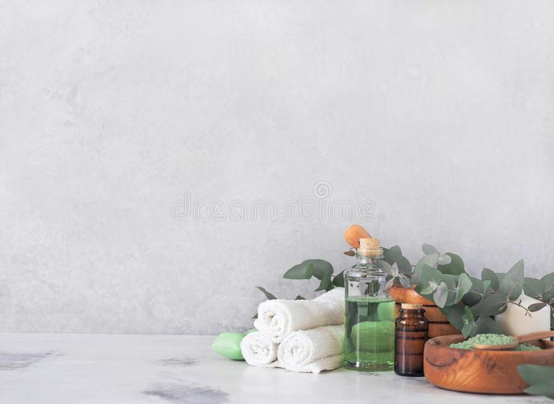 Massage- och Spa produkter med eukalyptuns royaltyfri foto