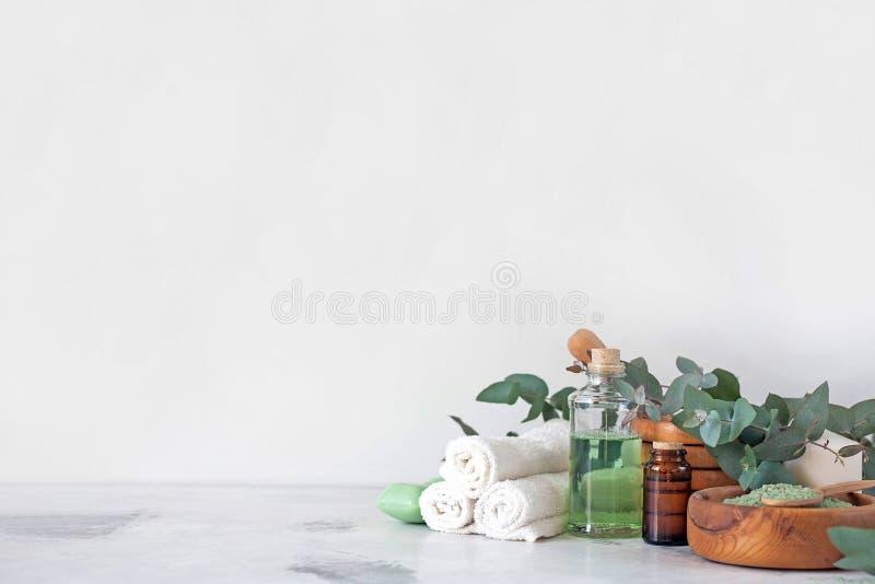 Massage- och Spa produkter med eukalyptuns arkivfoto