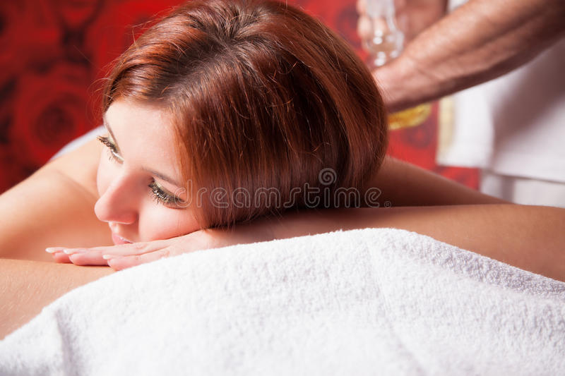 Massage with oil royalty free stock image