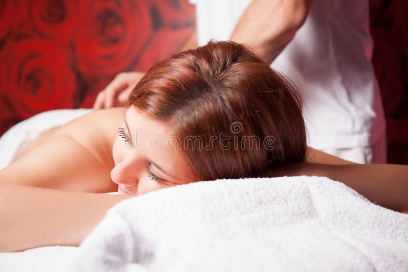 Massage with oil stock photos