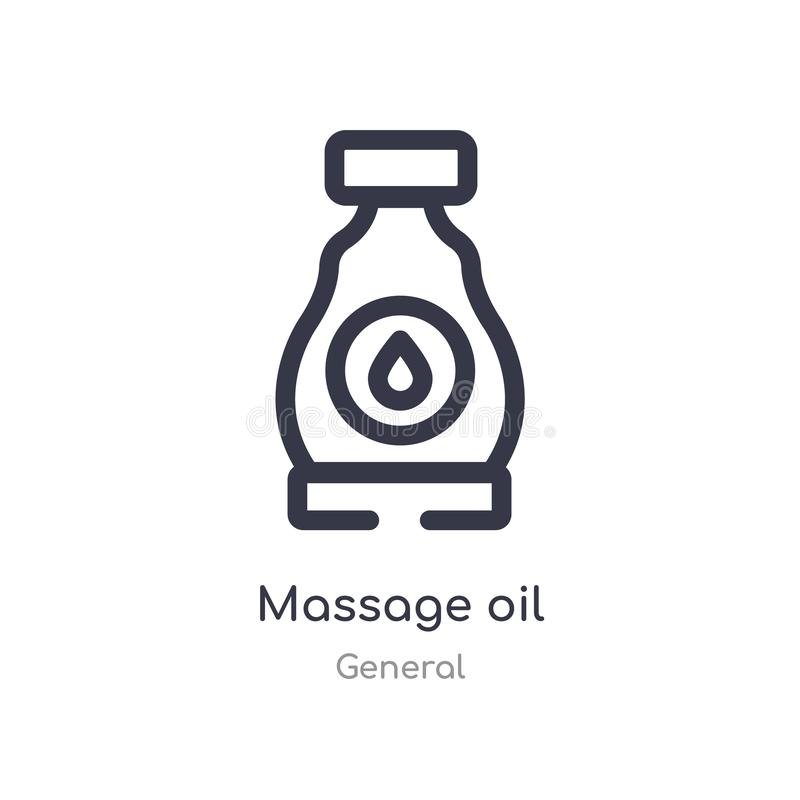 massage oil outline icon. isolated line vector illustration from general collection. editable thin stroke massage oil icon on stock illustration