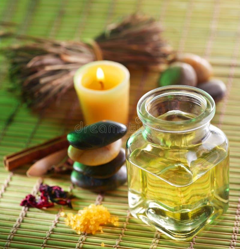 Massage oil in the spa salon stock image