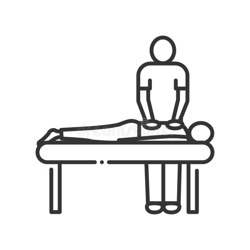 Massage procedure line color icon. Physiotherapy, acupuncture, rehabilitation concept. Health medical treatment stock illustration