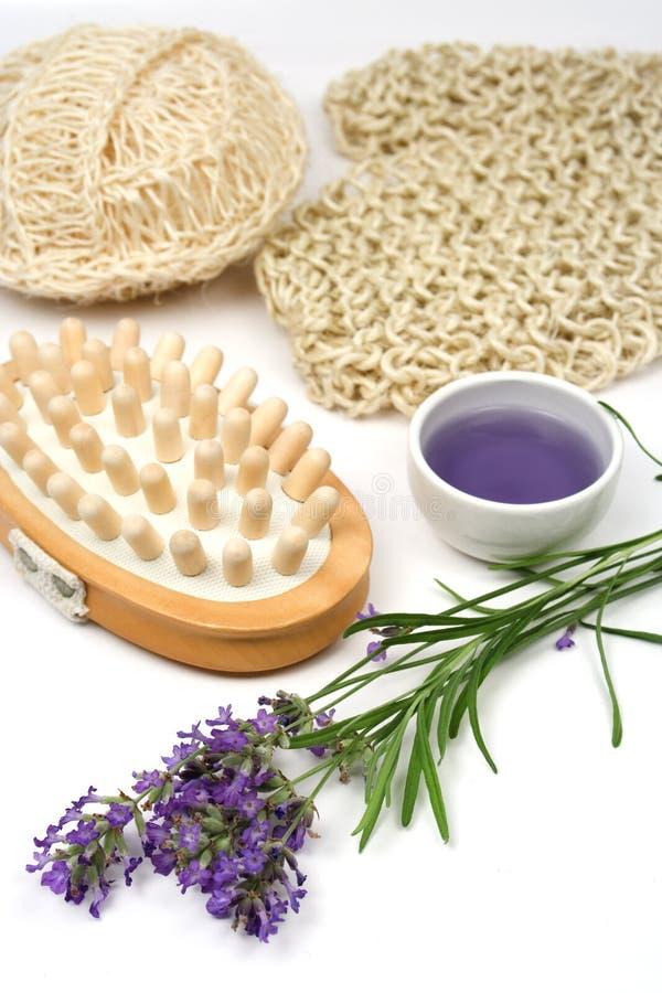 Massage réglé avec la lavande photo stock