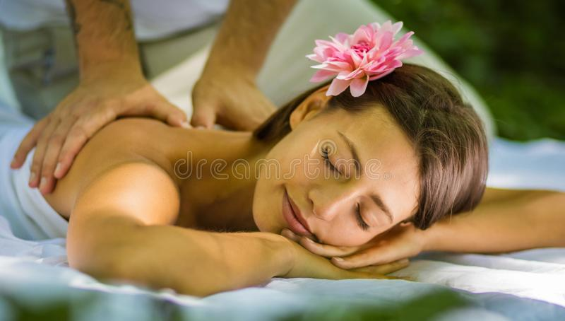 Massage is the right way to show your gentleness stock photos