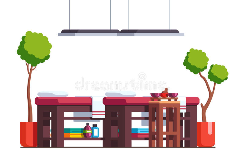 Massage room cabinet or spa salon with tables stock illustration
