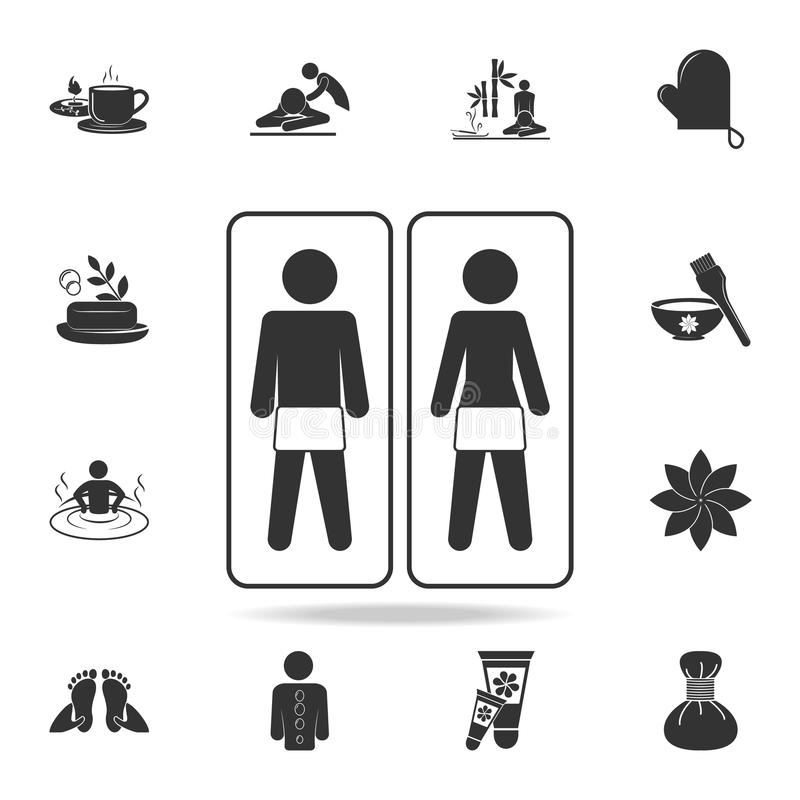 Massage room with equipment couple and massage icon. Detailed set of SPA icons. Premium quality graphic design. One of the collect stock illustration