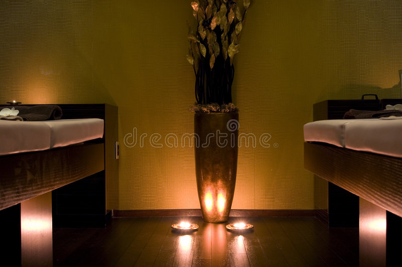 Massage room in SPA royalty free stock photography