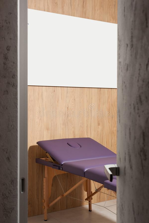 Massage room in wellness center royalty free stock image