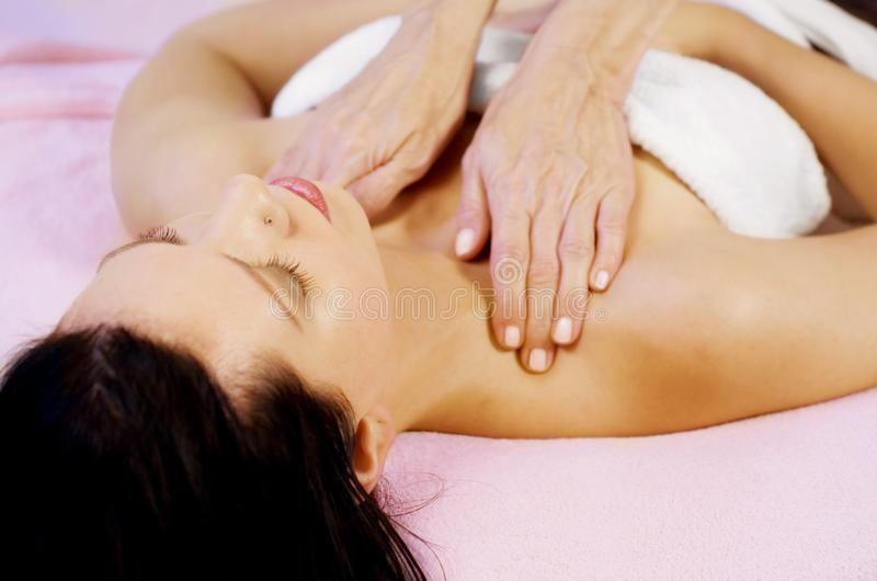 Massage on shoulder stock photos