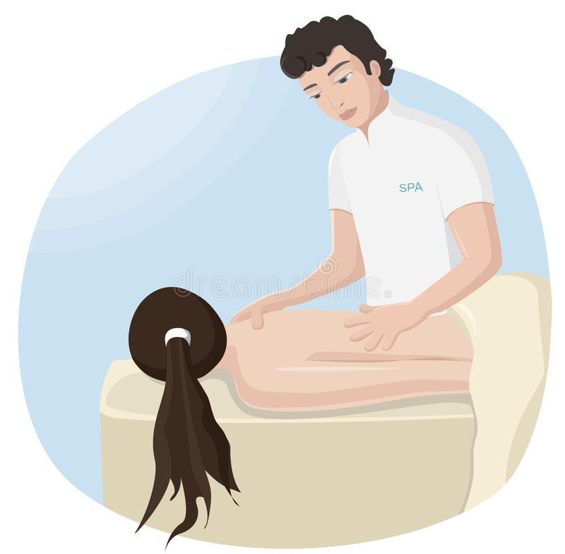 Massage at the spa vector illustration