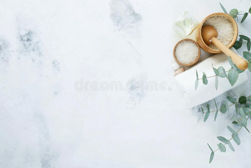 Massage and Spa products with branches of eucalyptus. royalty free stock image
