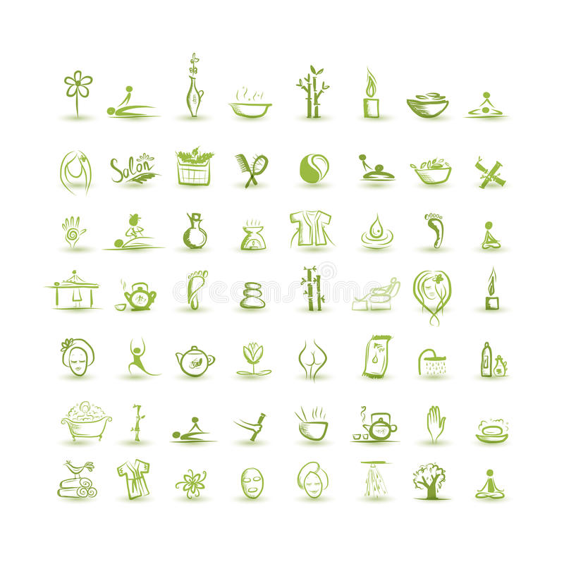 Massage And Spa, Set Of Icons For Your Design Royalty Free Stock Photography