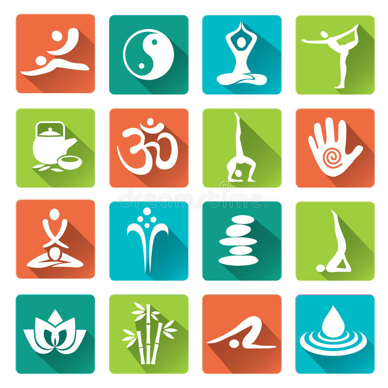 Massage Spa yoga icons with long shadow. vector illustration