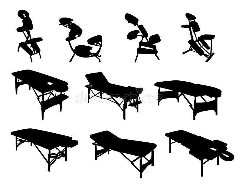 Massage-Stühle und Tabellen vektor abbildung