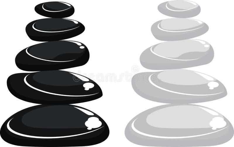 Massage stone tower. Black and white spa massage stones on white background vector illustration