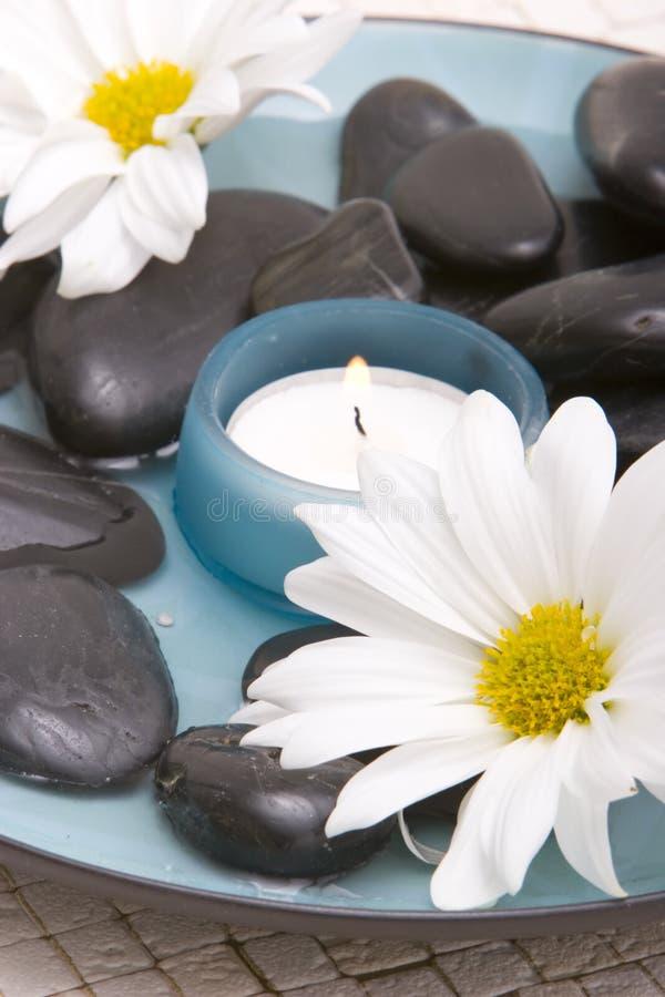 Massage Stones, Candle, Daisy Stock Image - Image of