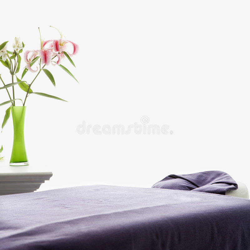 Download Massage table. stock image. Image of purple, square, relaxation - 2425447