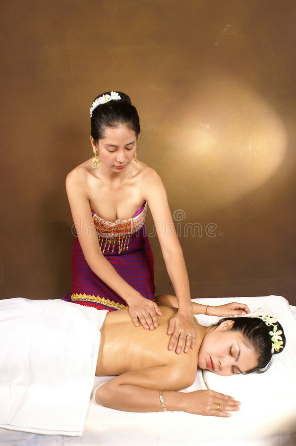 Massage thaï sain de pétrole photo stock