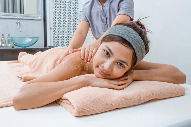 Massage in Thai spa royalty free stock image