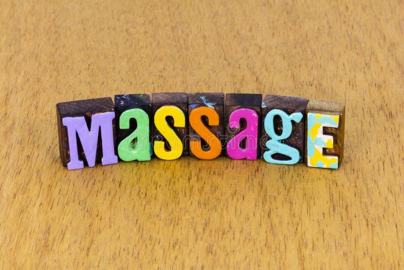 Massage Therapie Spa Wellness Wellness Letterpress Entspannung stockbilder