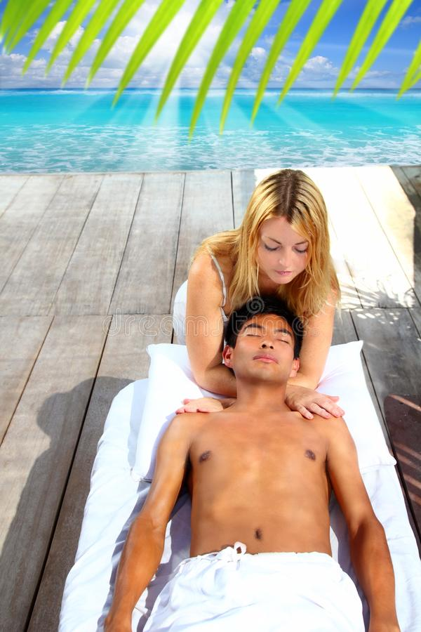 Massage therapy stretch head neck outdoor stock images