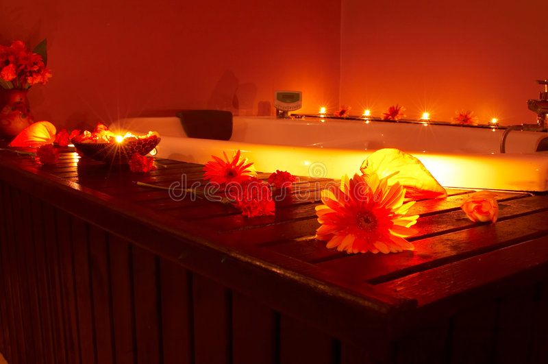 Massage time. Massage center interior view, bath royalty free stock photography