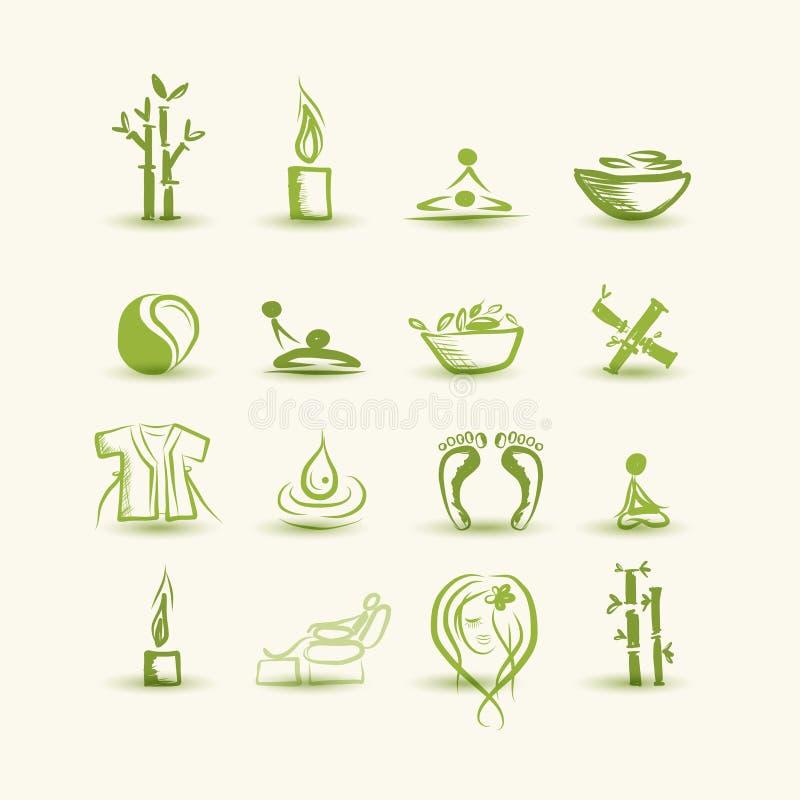 Massage Und Badekurort, Satz Ikonen Für Ihr Design Lizenzfreies Stockbild