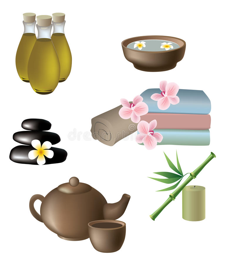 massage, wellness and spa icons stock illustration