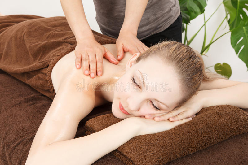 Massage a young woman stock photo