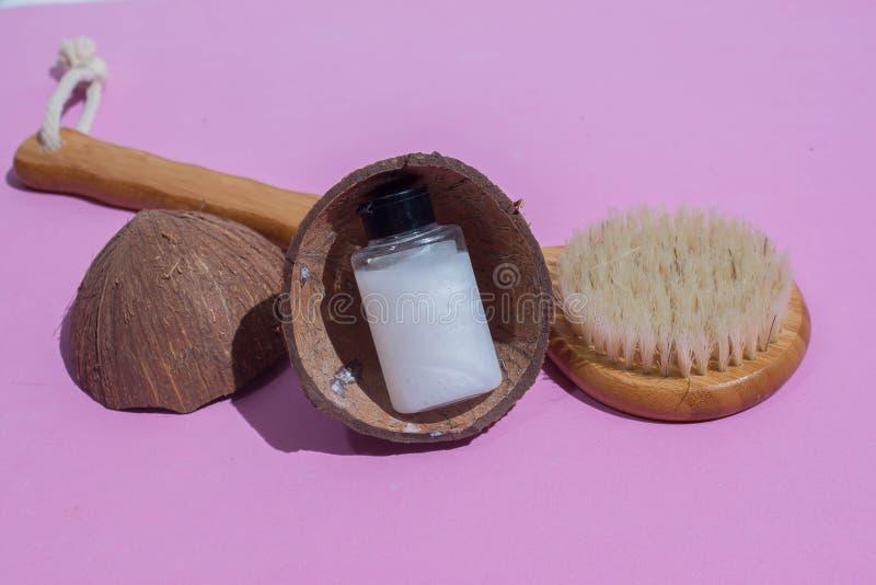 Massageborstel Borstel voor anti-anti-cellulitemassage stock afbeelding