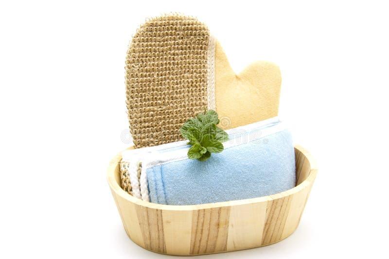 Massagehandschoen met doek royalty-vrije stock afbeelding