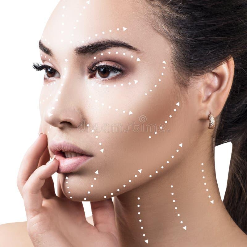 Massagelinien auf schönem weiblichem Gesicht zeigen Richtungen lizenzfreie stockfotos