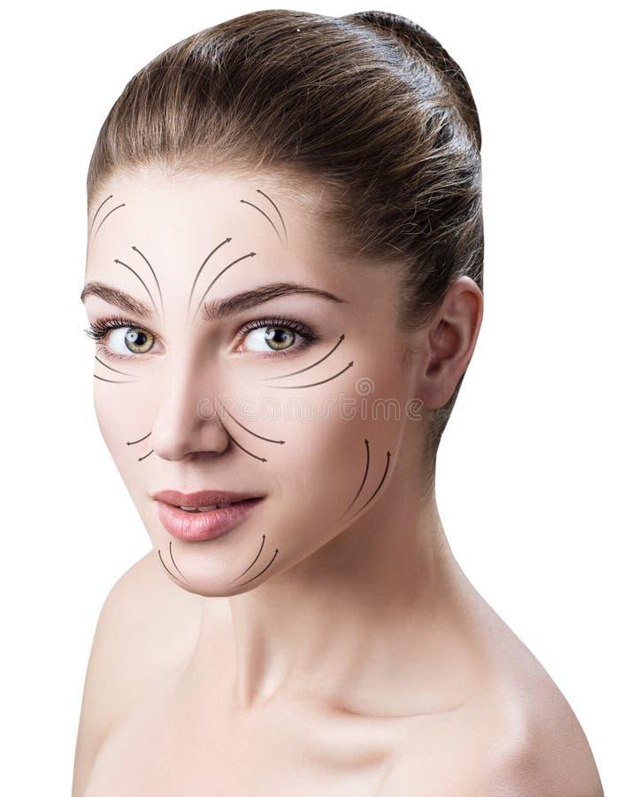 Massagelinien auf Schönheit ` s Gesicht lizenzfreie stockfotografie