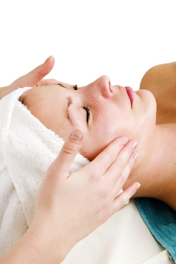 Massagem de face em termas fotos de stock