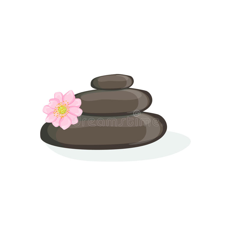 A massagem de Zen Pyramid With Black Warm apedreja o elemento da saúde do centro dos termas e a coleção dos procedimentos da bele ilustração stock