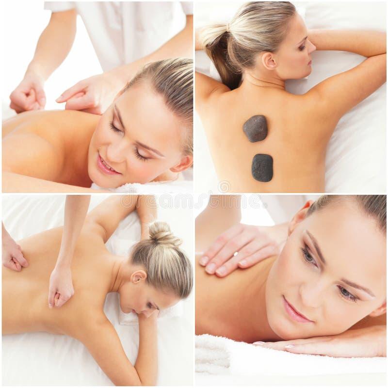 Massagem e grupo cura Colagem da sa?de, da medicina e da recrea??o Curando e fazendo massagens o conceito imagens de stock royalty free