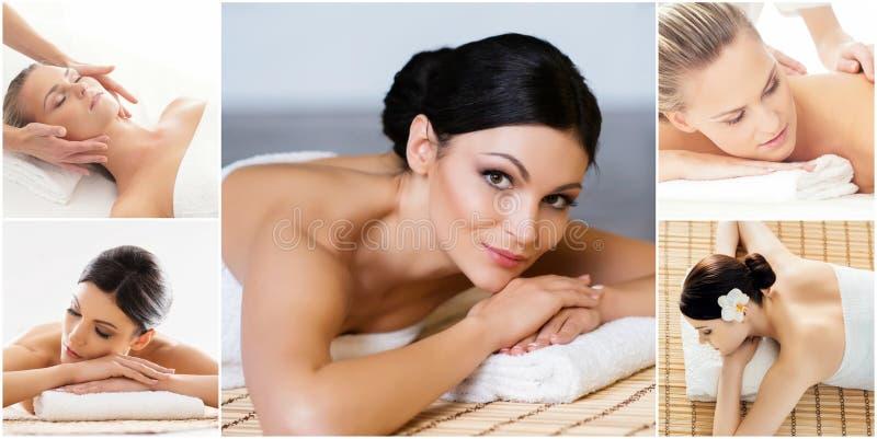 Massagem e grupo cura Colagem da sa?de, da medicina e da recrea??o Curando e fazendo massagens o conceito fotos de stock royalty free