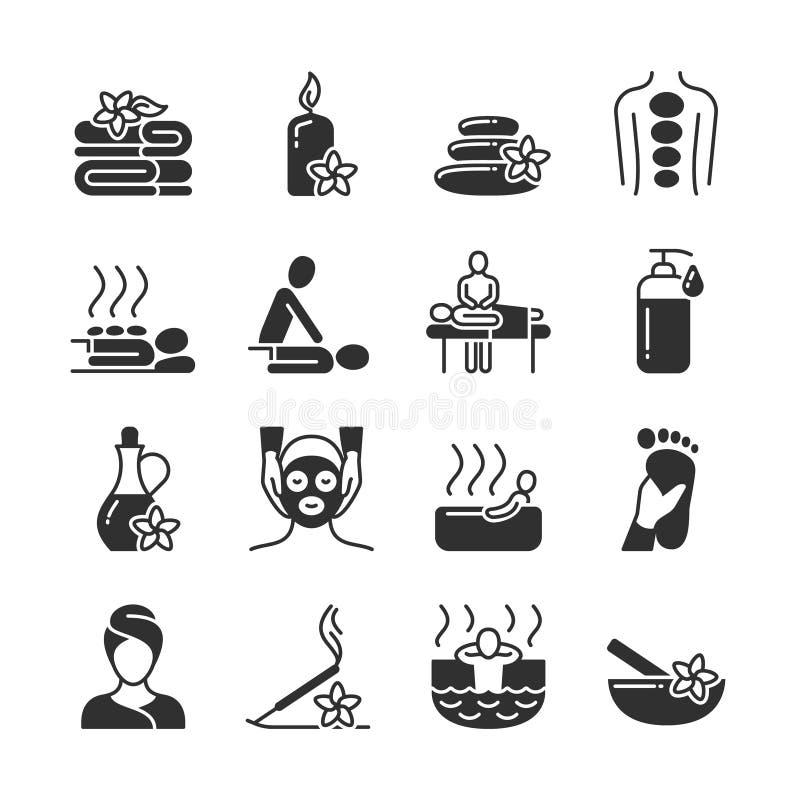 Massagem e terapia dos termas, ícones médicos da silhueta do vetor do cuidado do corpo ilustração do vetor