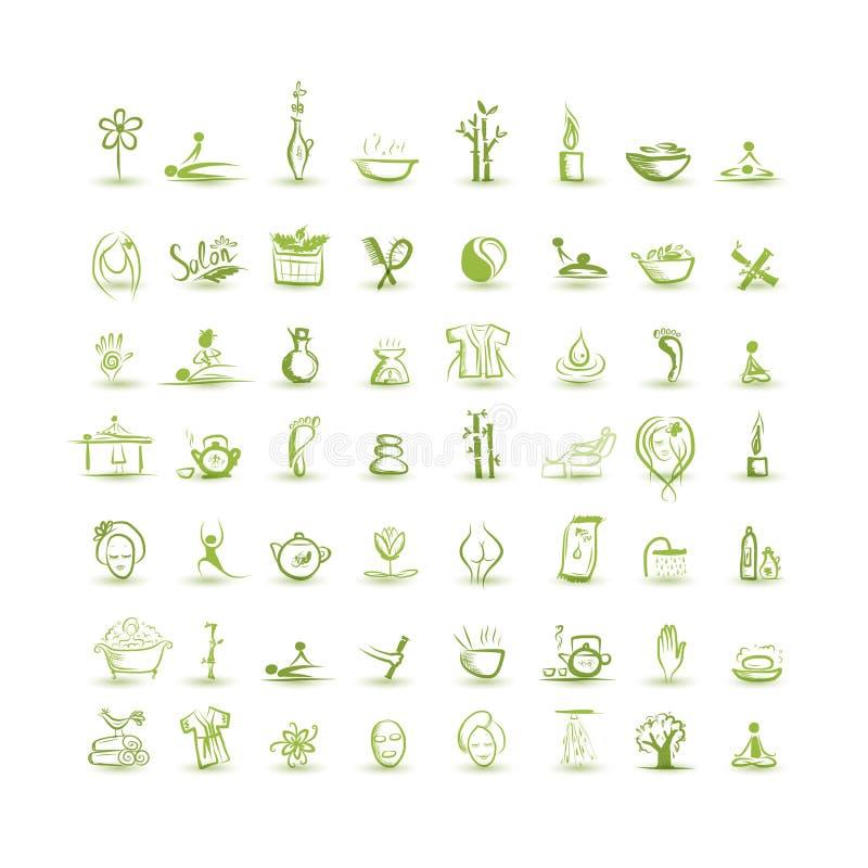 Massagem e termas, grupo de ícones para seu projeto ilustração stock