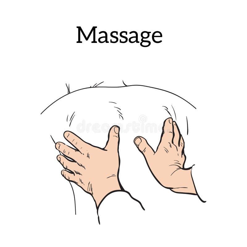 Massagem manual terapêutica Terapia médica ilustração do vetor