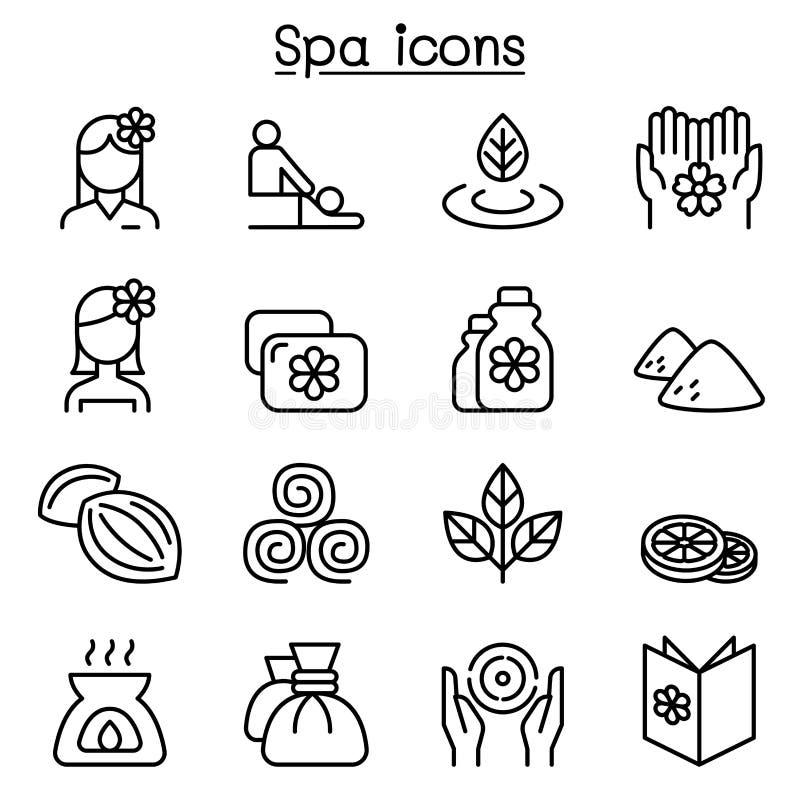 A massagem, os termas & o ícone da terapia da alternativa ajustaram-se na linha estilo fina ilustração stock