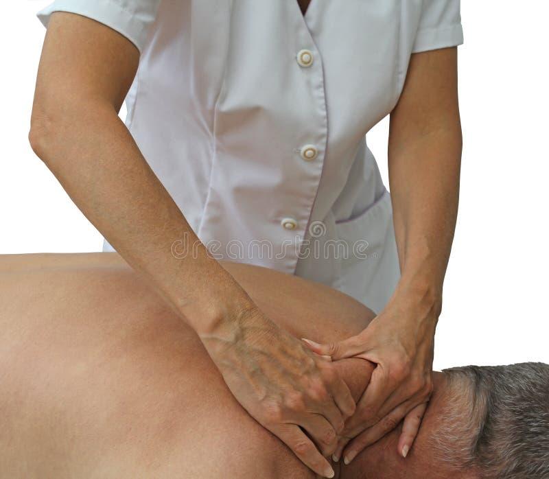 Massagem profunda do tecido ao músculo do Trapezius imagens de stock royalty free