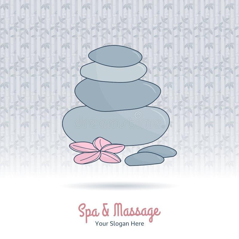 A massagem tailandesa tirada mão e os termas projetam elementos ilustração stock