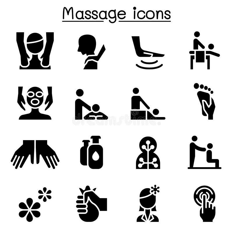 Massagem, termas & gráfico ajustado da ilustração do ícone da terapia da alternativa ilustração do vetor