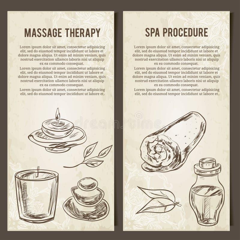 Massagen SPA och kopplar av tillvägagångssätt Uppsättningen av vektorn cards mallen Hand drog beståndsdelar stock illustrationer