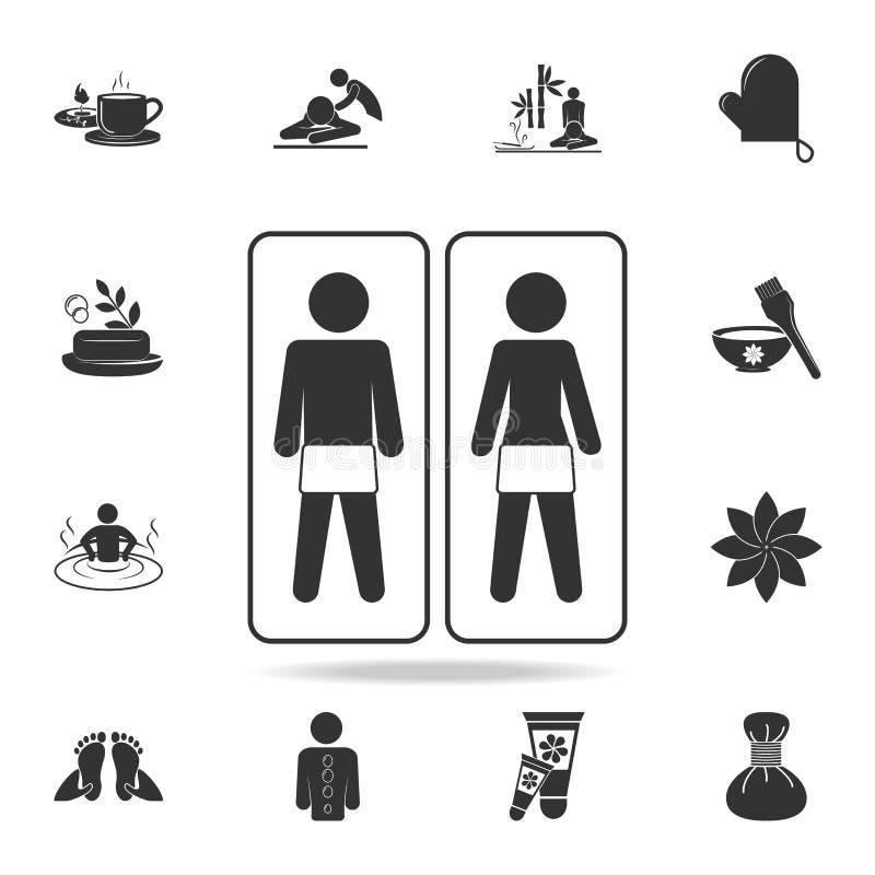 Massagerum med utrustningpar och massagesymbolen Detaljerad uppsättning av SPA symboler Högvärdig kvalitets- grafisk design En av stock illustrationer