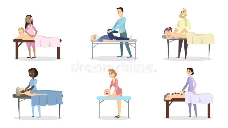 Massageterapiuppsättning vektor illustrationer
