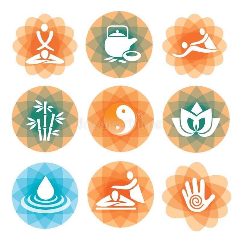 Massageyoga spa pictogrammen royalty-vrije illustratie